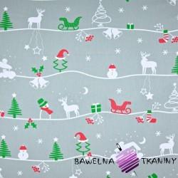 Bawełna wzór świąteczny zimowy szlak na szarym tle