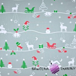 Cotton christmas patter winter trail on gray background