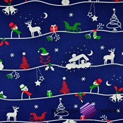 Cotton christmas patter winter trail on navy blue background
