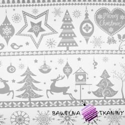 Bawełna wzór świąteczny duże renifery w pasach czerwone na białym tle