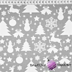 Bawełna wzór świąteczny choinki i bałwanki białe na szarym tle