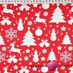 Bawełna wzór świąteczny choinki i bałwanki białe na czerwonym tle