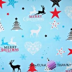 Cotton Christmas pattern stars & hearts on light blue background