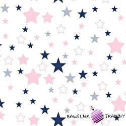 Cotton pink & navy blue stars on white background