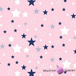 Cotton white & navy blue stars on white background