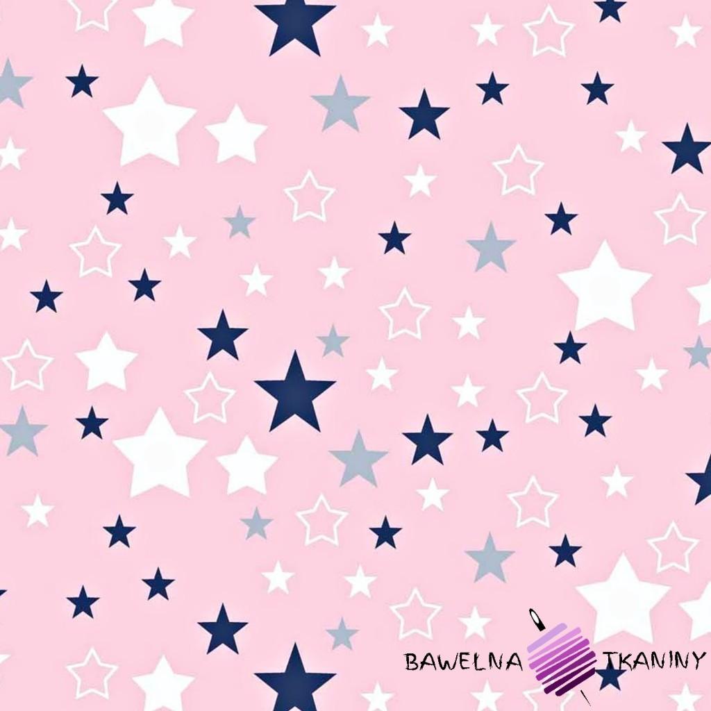 Bawełna biało granatowy na różowym tle