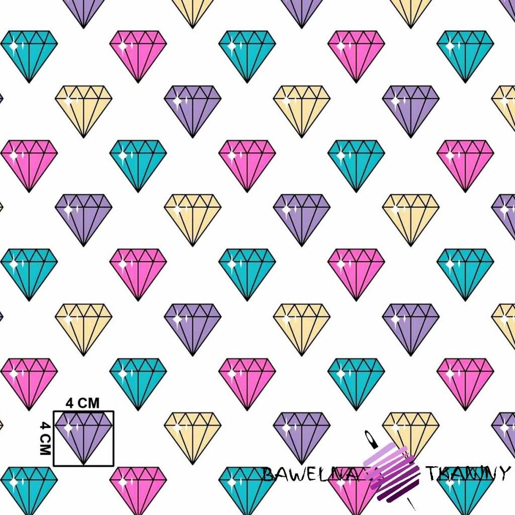Bawełna diamenty kolorowe na białym tle