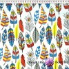 Cotton blue & yellow Feather on white background