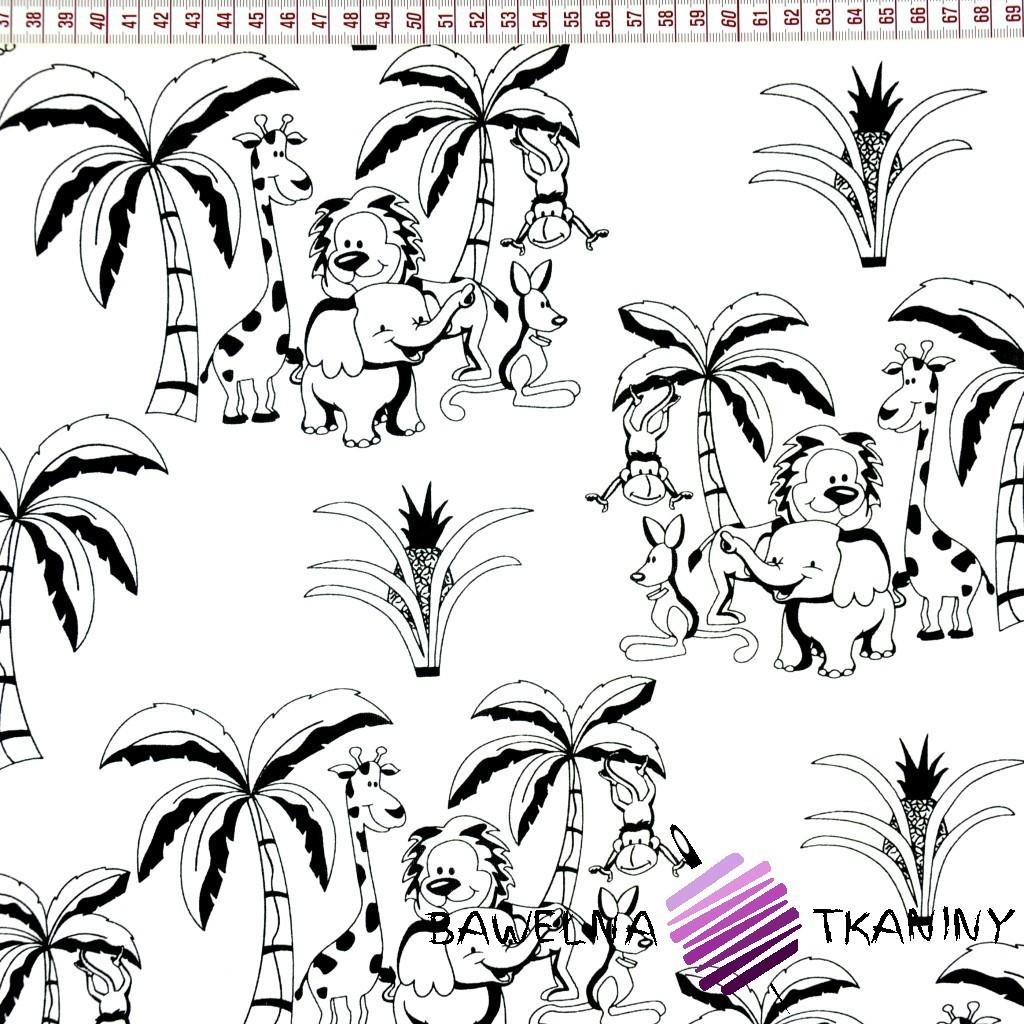 Bawełna zwierzaczki z afryki czarne na białym tle