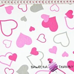 Bawełna serca małe i duże różowo szare na białym tle