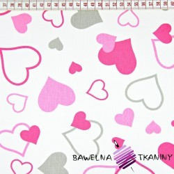 Cotton small & big pink hearts on white background