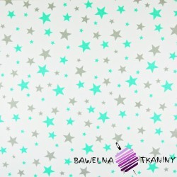Cotton small & big gray , mint stars on white background