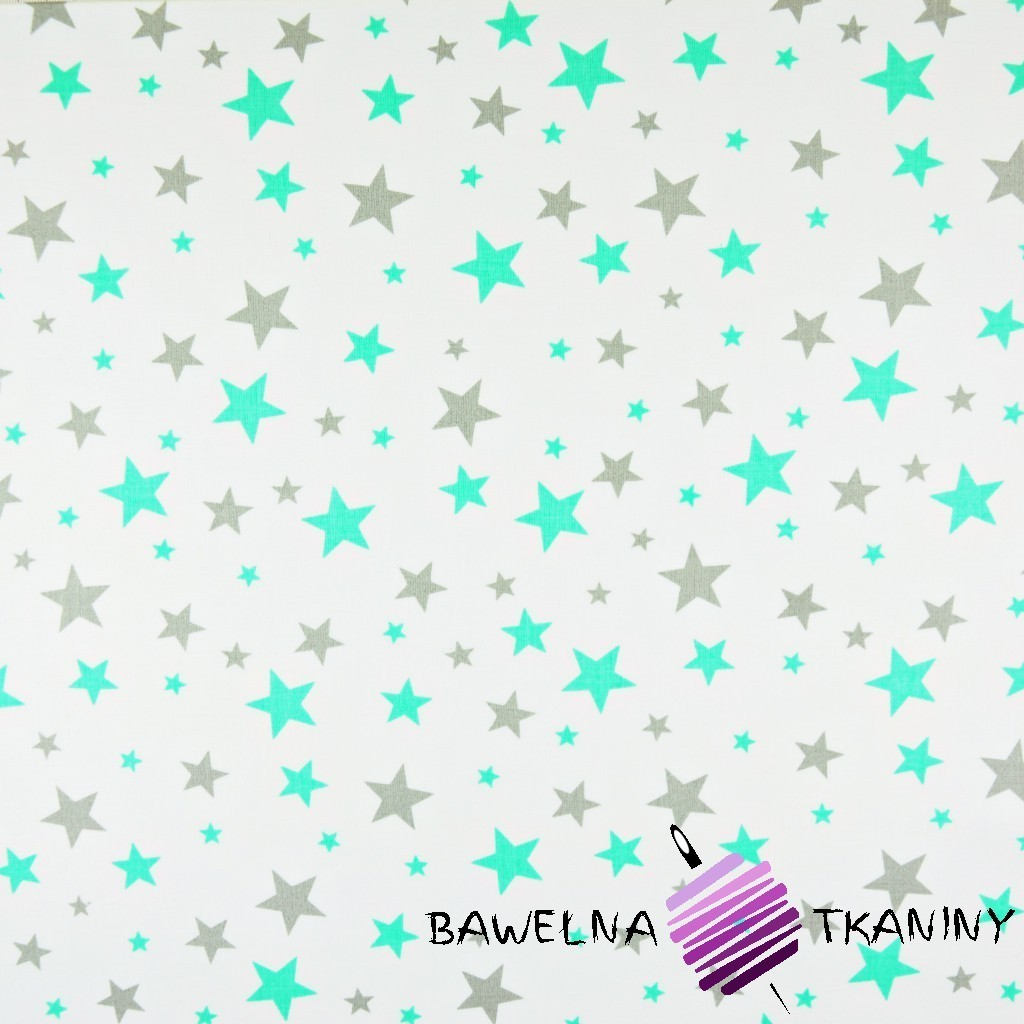 Bawełna gwiazdki małe i duże szaro miętowe na białym tle