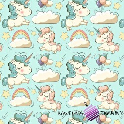 Flannel unicorns on mint background