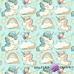 Flannel unicorns on mint background