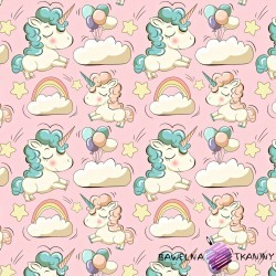 Flannel unicorns on pink background