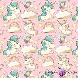 Flannel unicorns on pink background