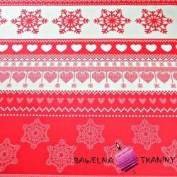 Bawełna wzór świąteczny z sercami na czerwonym tle