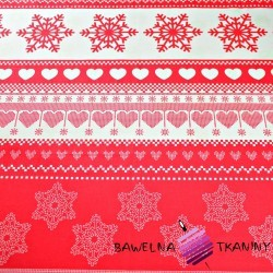 Cotton Christmas pattern with hearts on red background