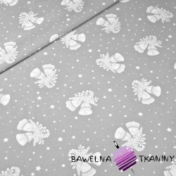 Cotton Christmas pattern bells on gray background