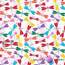 Bawełna ważki kolorowe na białym tle
