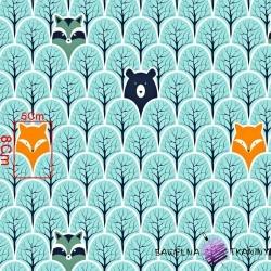 Bawełna szopy i liski w drzewkach miętowych
