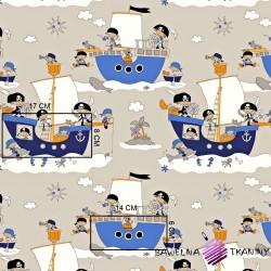 Bawełna statki pirackie na jasnobeżowym tle