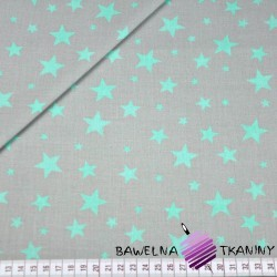 Bawełna gwiazdki nowe małe i duże białe na szarym