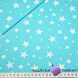 Bawełna gwiazdki nowe małe i duże białe na turkusowym tle
