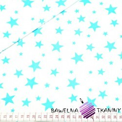 cotton new small and big turquoise stars on white background