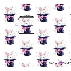 Bawełna króliki w kapeluszu na białym tle