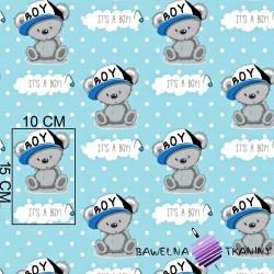 Cotton bears IT'S A BOY on blue background