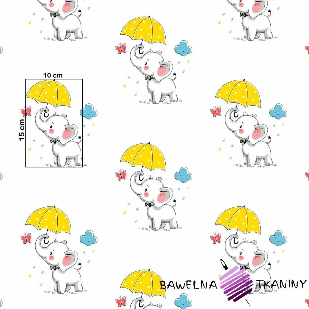 Bawełna słoniki z żółtymi parasolkami na białym tle.