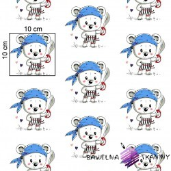 Cotton blue bears pirates on white background