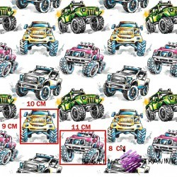 Cotton Off-road cars on white background