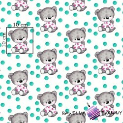 Cotton gray bears with turquoise spots on white background