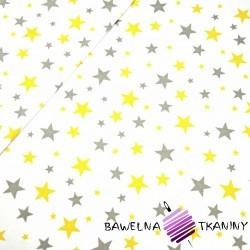 Bawełna gwiazdozbiór szaro żółty na białym tle