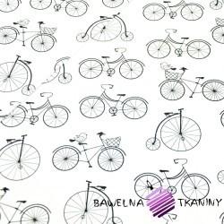Bawełna rowerki czarne na białym tle