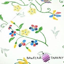 Bawełna kwiaty haftowane na białym tle