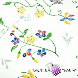 Cotton flowers embroidered on white background