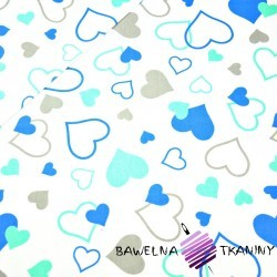 Cotton small & big blue & mint hearts on white background