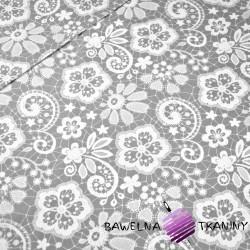 Bawełna serwetka biała na szarym tle
