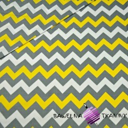 Cotton gray & yellow zigzag