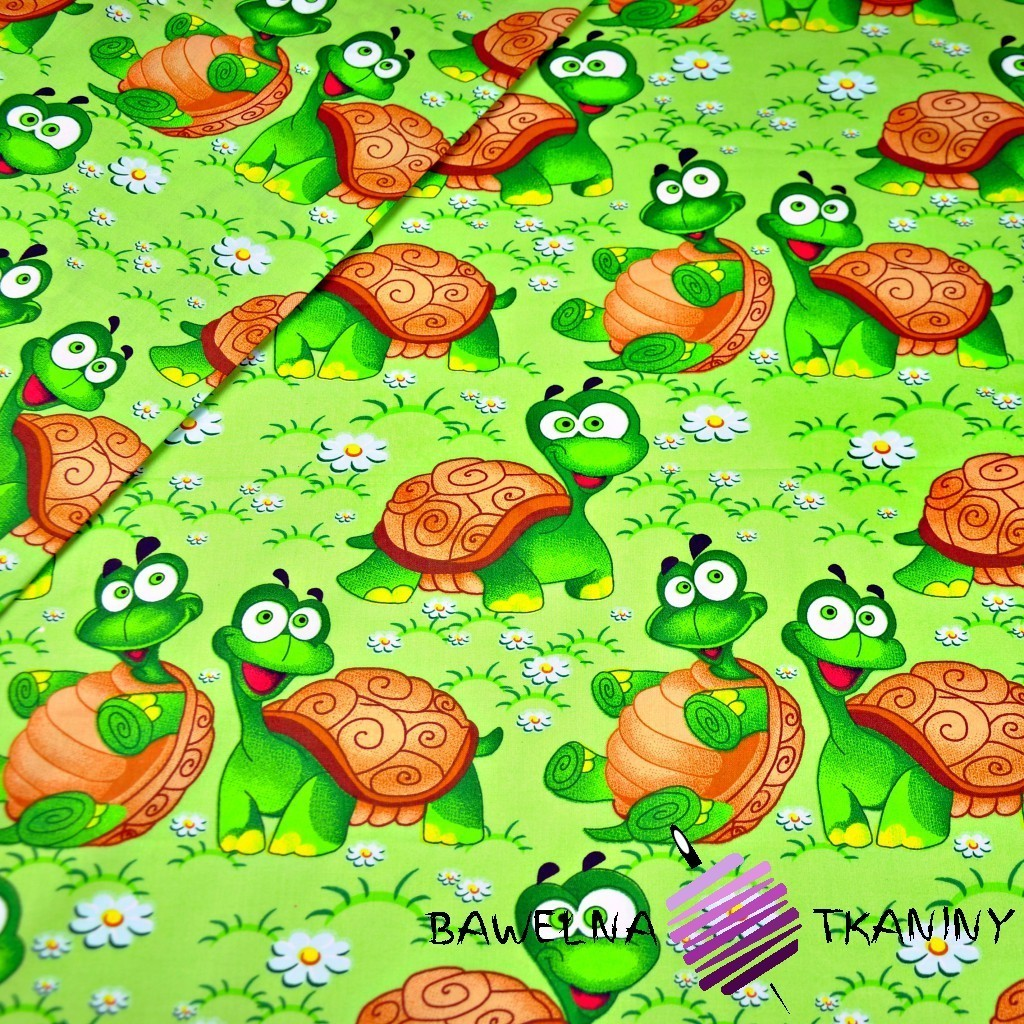 Bawełna żółwie na zielonym tle