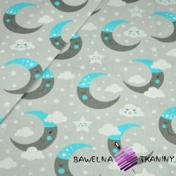 Bawełna księżyce szaro niebieskie na szarym tle
