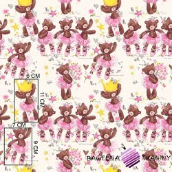 Cotton ballerina bears with crowns on ecru background