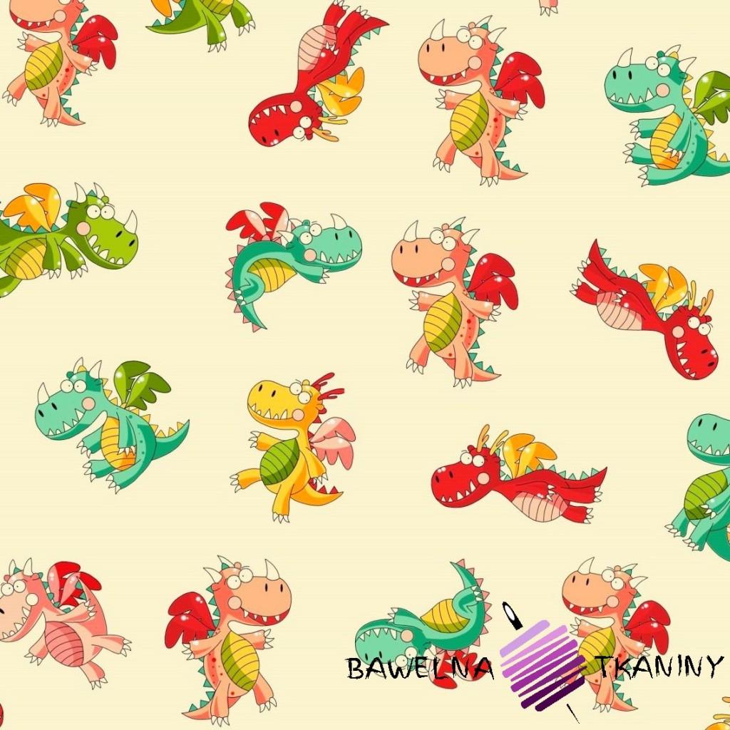 Bawełna smoki kolorowe na waniliowym tle