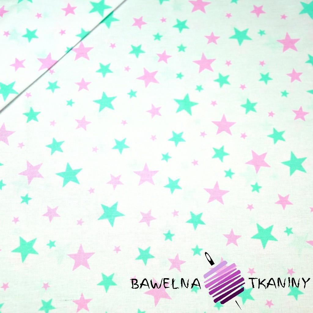 Bawełna gwiazdki nowe małe i duże różowo miętowe na białym tle
