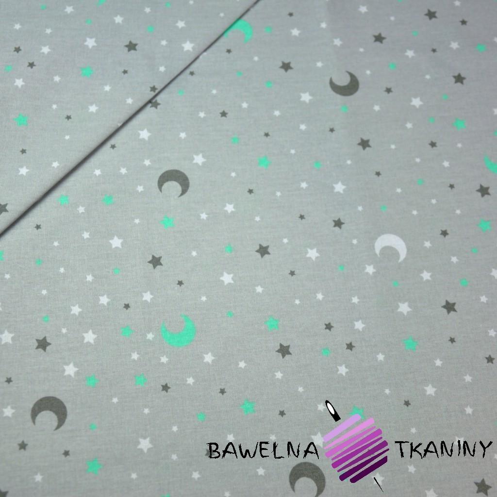Bawełna gwiazdki i księżyce szaro miętowe na szarym tle