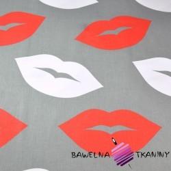 Bawełna usta czerwono białe na szarym tle